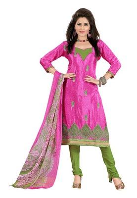 Fabdeal Pink Colored Crepe Jacquard Embroidered Unstitched Salwar Kameez