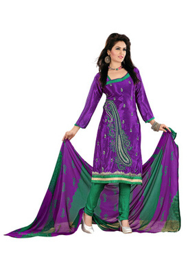 Fabdeal Purple Colored Crepe Jacquard Embroidered Unstitched Salwar Kameez
