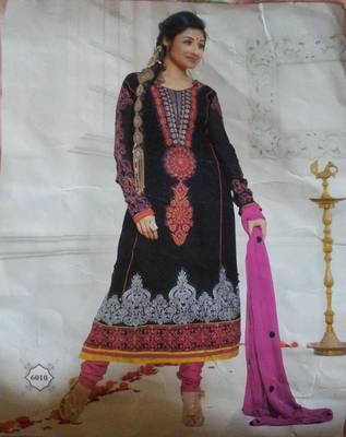 Designer georgette dress material peach color