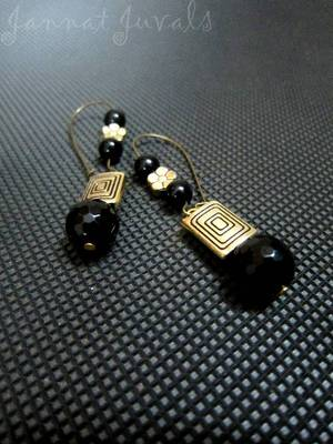Long Black onyx and Golden Earrings