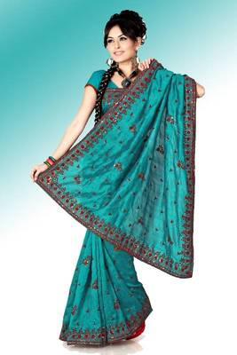 Teal bhagalpuri silk saree with blouse (anc444)