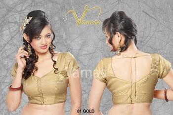 81 gold readymade padded princess cut blouse
