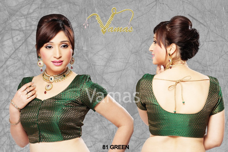 Buy Short Sleeve Ready Made Stitched Saree Blouse Green 81fgr