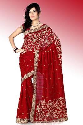 Maroon bhagalpuri silk saree with blouse (anc448)