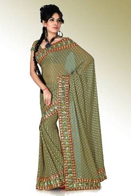 Olive green viscose saree with blouse (anc453)