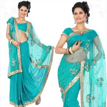 Teal faux georgette saree with blouse (sn413)