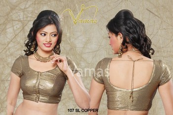 Short Sleeve embellished Saree blouse. Copper 107slc Muhenera presents vama blouse collection