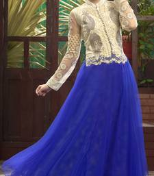 Blue embroidered net party-wear-gowns