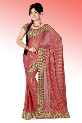 Pretty pink viscose saree with blouse (anc456)