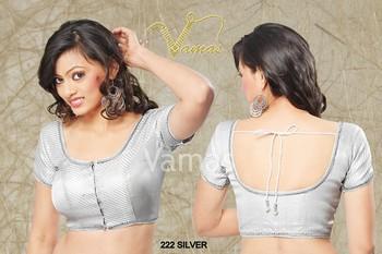 Short Sleeve Saree blouse. silver 222s Muhenera presents vama blouse collection