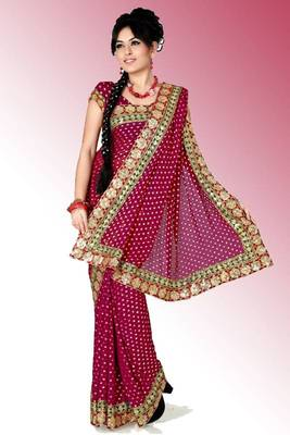 Deep magenta viscose saree with blouse (anc458)