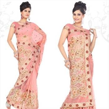 Pretty pink net saree with blouse (sn416)