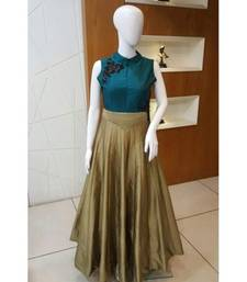 Buy Teal green and copper taffeta silk multi work semi stitiched party wear gowns party-wear-gown online
