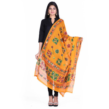 Yellow cotton embroidered dupatta