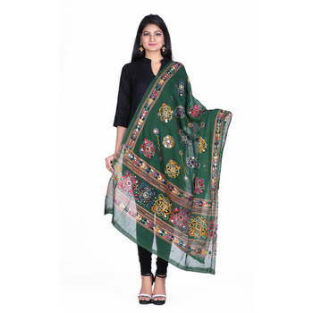 Green cotton embroidered dupatta