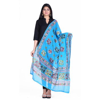Blue cotton embroidered dupatta