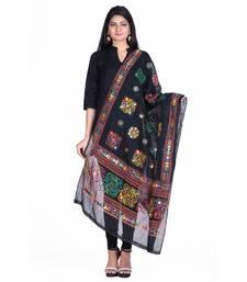 Black cotton embroidered dupatta