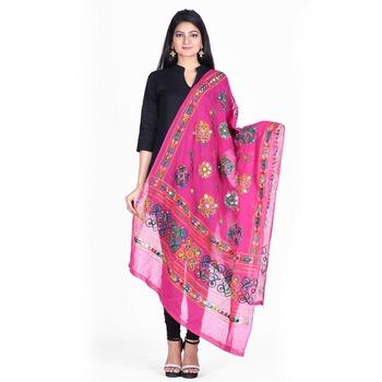 Pink cotton embroidered dupatta