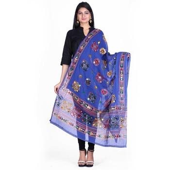 Blue cotton embroidered dupatta