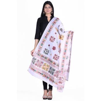 White cotton embroidered dupatta
