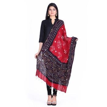 Red cotton embellished bandhej dupatta