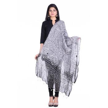 Grey cotton embellished bandhej dupatta