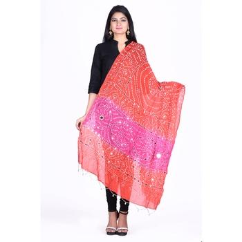 Orange cotton embellished bandhej dupatta