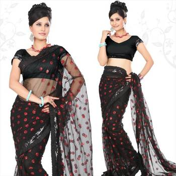 Black net saree with blouse (sn425)