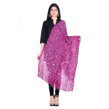 Purple cotton embellished bandhej dupatta