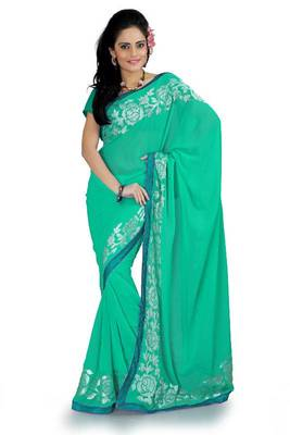 Turquoise green faux georgette saree with blouse (aks886)