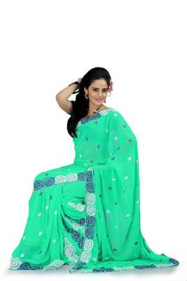 Turquoise green faux georgette saree with blouse (aks890)