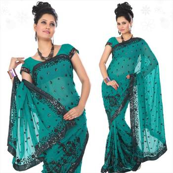 Teal faux georgette saree with blouse (sn434)