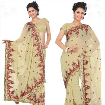 Beige faux georgette saree with blouse (sn437)
