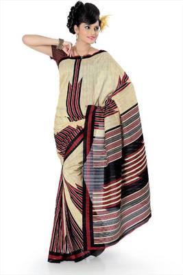 Cream bhagalpuri silk saree with blouse (als831)
