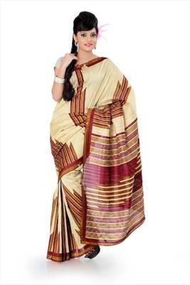 Cream bhagalpuri silk saree with blouse (als832)