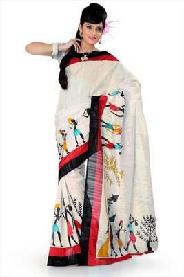 Cream bhagalpuri silk saree with blouse (als839)