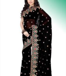 Buy Black faux georgette saree with blouse (anm482) georgette-saree online