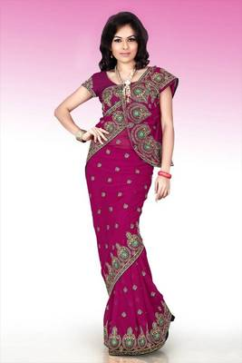 Deep magenta faux georgette saree with blouse (anm485)