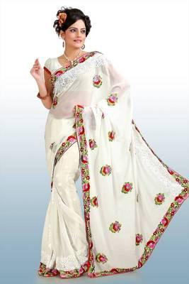 White chiffon saree with blouse (pnm1045)