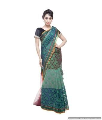 Banarasi Handloom Kora Silk 3D Saree with Resham Work