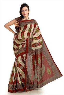 Cream, maroon and apple green bhagalpuri silk saree with blouse (pdm1124)