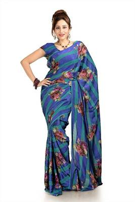 Green and purple chiffon saree with blouse (pdm1133)