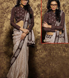 Buy cream embroidered viscose saree With Blouse viscose-saree online
