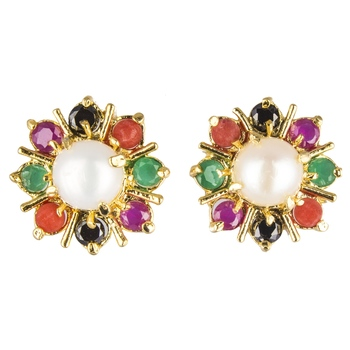Multicolor gold plated stud earring