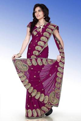 Wine faux georgette saree with blouse (anm515)