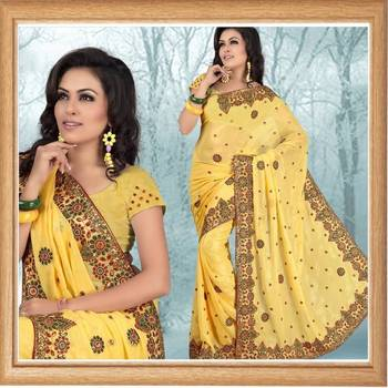 Golden yellow faux shimmer georgette saree (332)
