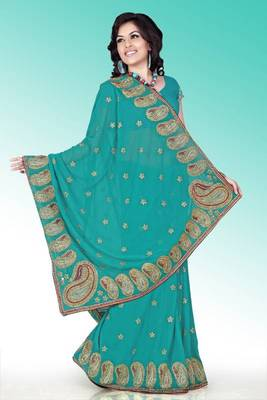 Teal green faux georgette saree with blouse (anm517)