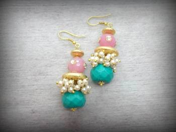Matka Loop Earing - Ferozi Pink