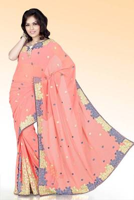 Peach faux georgette saree with blouse (anm523)