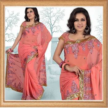 Pretty pink faux georgette saree with blouse (337)